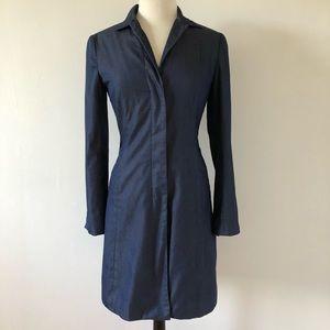 BCBG Maxazria Long Coat Denim Look Size 6
